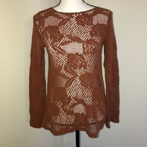 TopShop Long Sleeve Crochet Shirt